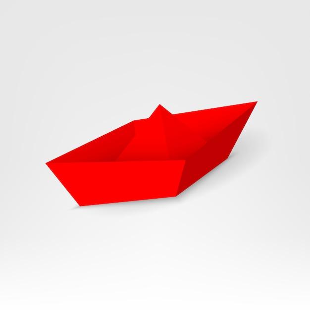 Leadership barca di carta rossa, nave leader tra. Vettore Premium