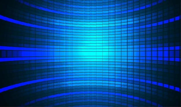 Led schermo cinematografico blu sullo sfondo Vettore Premium