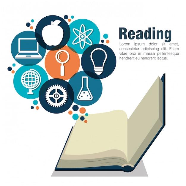Leggere libri design Vettore Premium