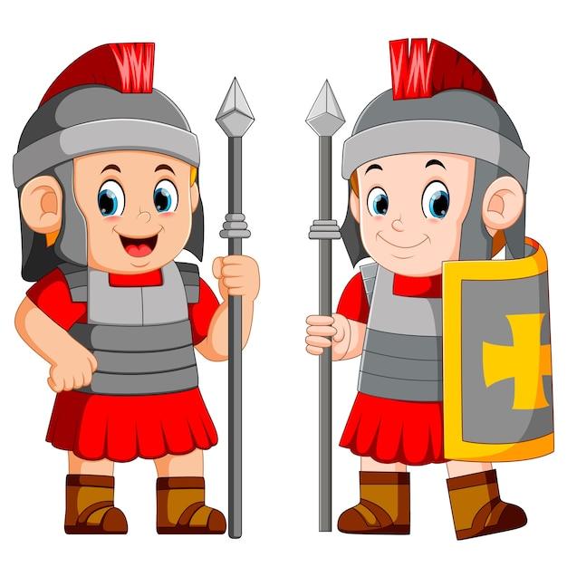 Legionario soldato dell'impero romano Vettore Premium