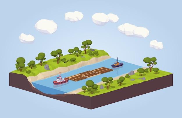 Legname isometrico lowpoly 3d che galleggia su un rimorchio lungo il fiume Vettore Premium