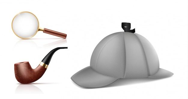 Lente d'ingrandimento d'annata, retro tubo di tabacco da fumo e cappuccio del deerstalker icone realistiche di vettore 3d s Vettore gratuito