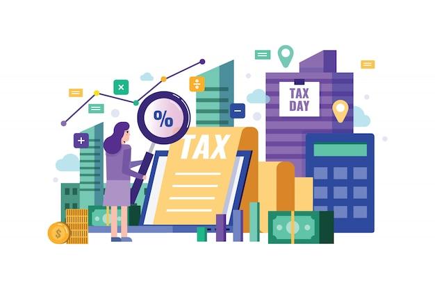 Lente d'ingrandimento della holding della donna di affari per controllare i dati finanziari. Vettore Premium