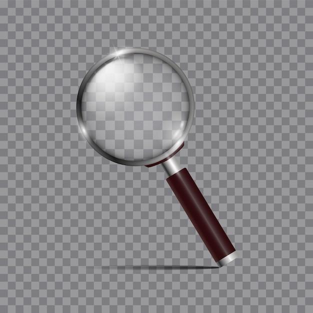 Lente d'ingrandimento, lente d'ingrandimento o mano realistiche per ingrandimento ottico isolato. elemento di design moderno. Vettore Premium