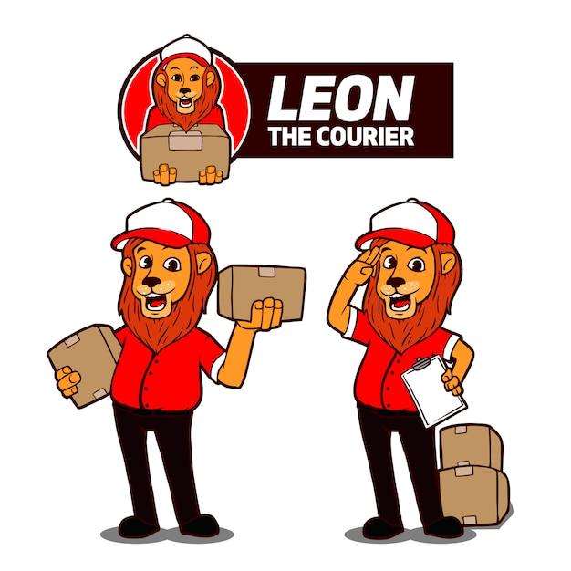 Leon il corriere mascot logo Vettore Premium