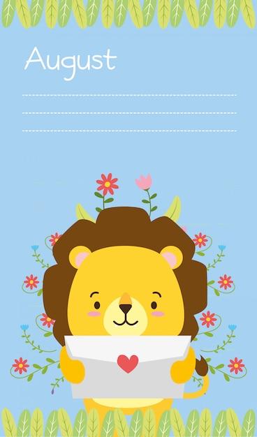 Leone carino con lettera d'amore, promemoria di agosto, stile piano Vettore gratuito