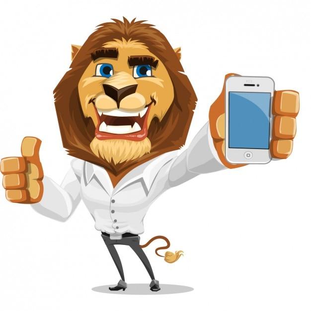 Leone colorato con un telefono cellulare Vettore gratuito