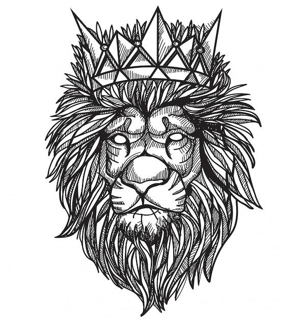 Leone del tatuaggio Vettore Premium