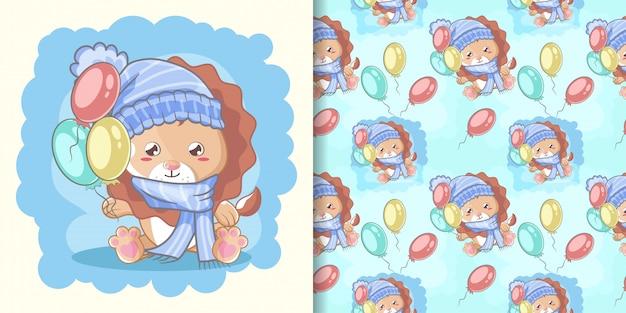 Leone sveglio felice disegnato a mano con palloncini e set di schemi Vettore Premium