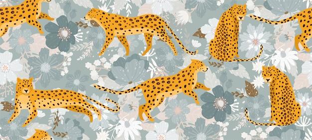 Leopardi circondati da bellissimi fiori. Vettore Premium