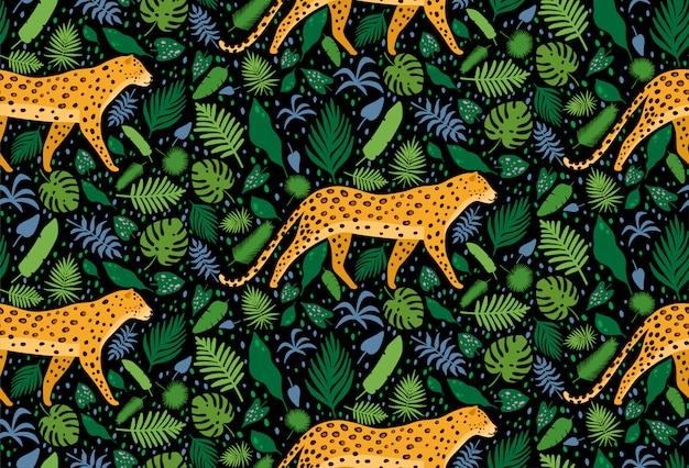 Leopardi circondati da foglie di palma tropicali Vettore Premium