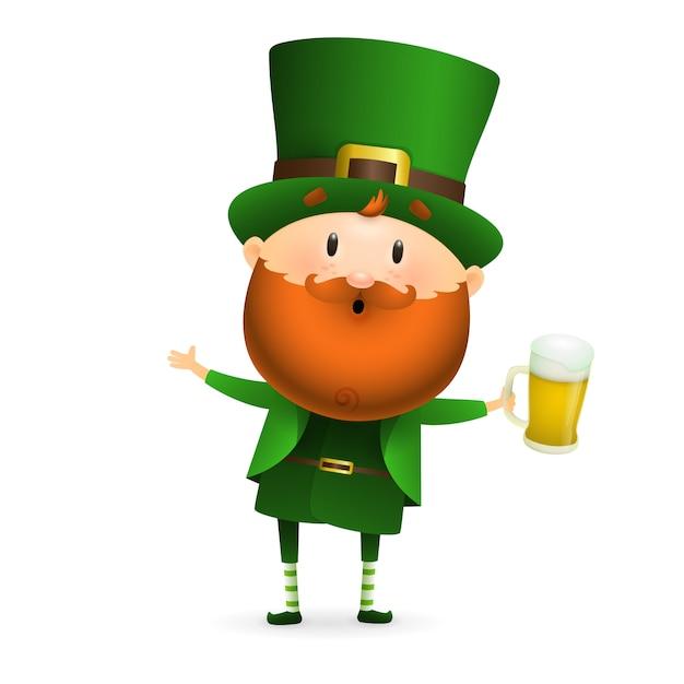 Leprechaun barbuto con bicchiere di birra Vettore gratuito
