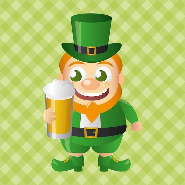 Leprechaun con birra, felice giorno di san patrizio Vettore gratuito