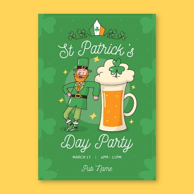 Leprechaun danzante e una pinta di birra st. giorno di patrick Vettore gratuito