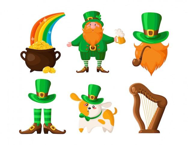 Leprechaun del fumetto di saint patricks day, pentola di monete d'oro, cane o cucciolo con cappello verde, pipa da fumo, bombetta, arpa, stivali Vettore Premium