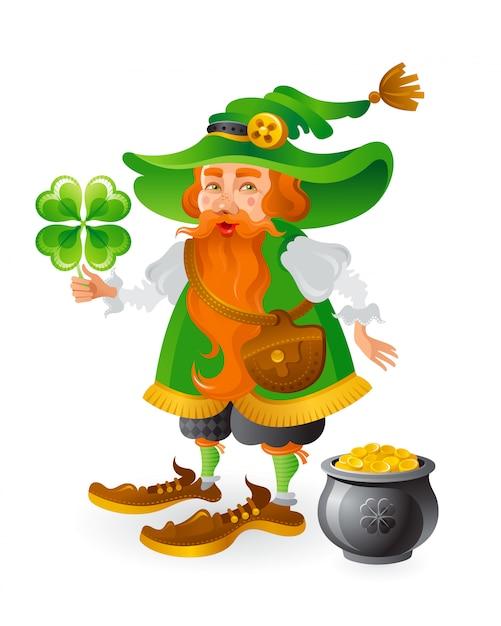 Leprechaun sveglio del fumetto in cappello verde con l'acetosella e la pentola delle monete di oro. Vettore Premium