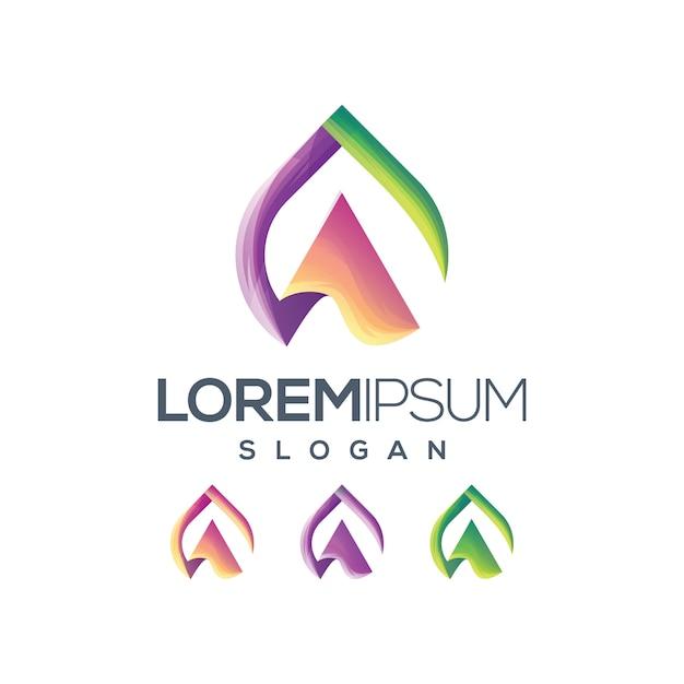 Lettera a colore gradiente logo Vettore Premium