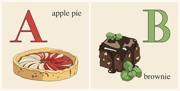 Lettera a con torta di mele Vettore Premium