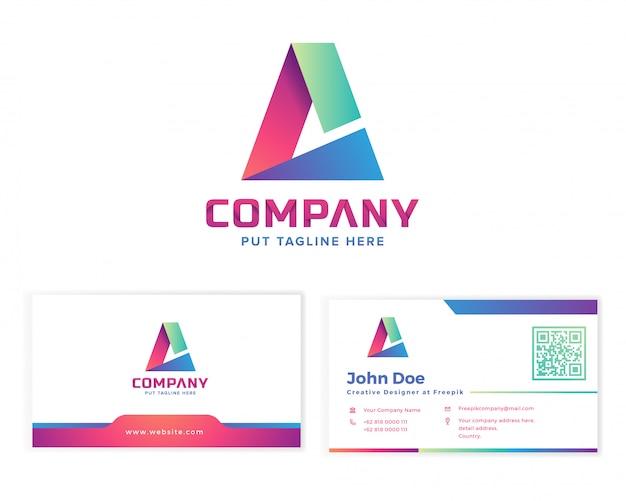 Lettera a logo con biglietto da visita di cancelleria Vettore Premium