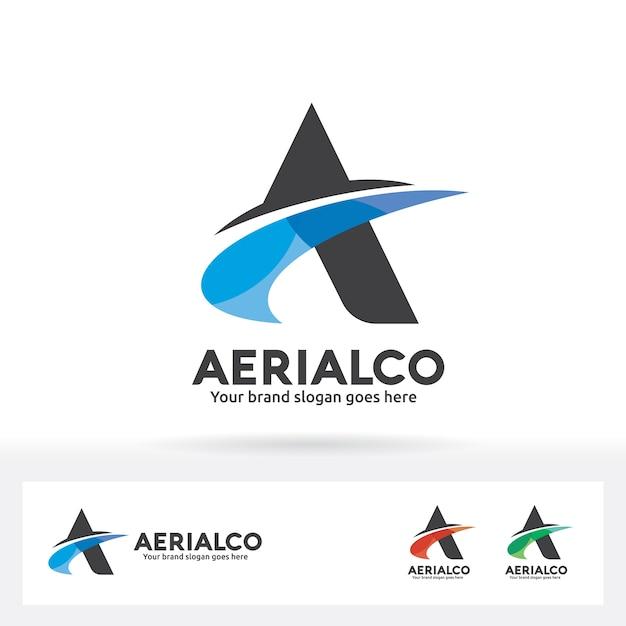 Lettera A Logo con Swoosh in ombra di colore Vettore Premium