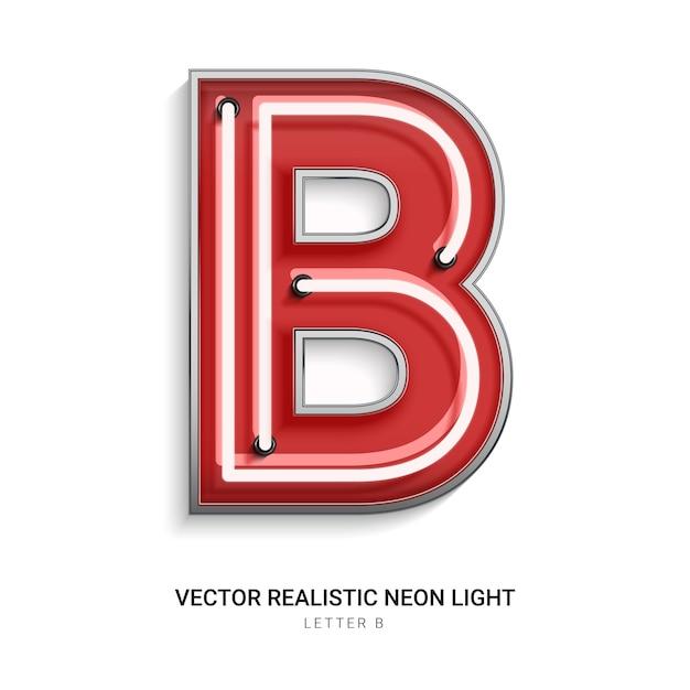 Lettera al neon b Vettore Premium