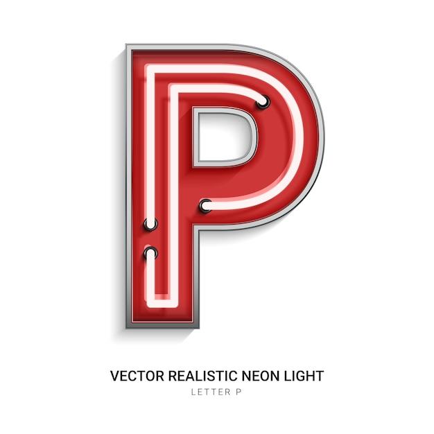 Lettera al neon p Vettore Premium