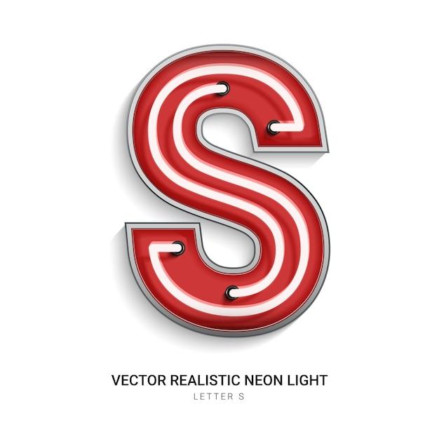 Lettera al neon s Vettore Premium