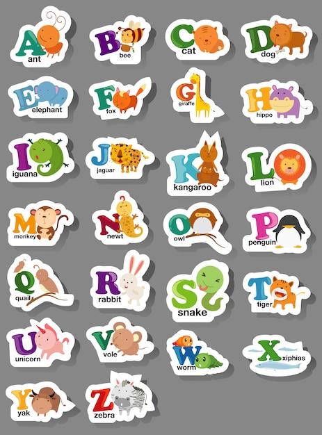 Lettera alfabeto animale az Vettore Premium