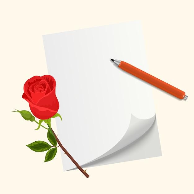 Lettera d'amore per san valentino. fiore di rosa, carta e penna Vettore Premium