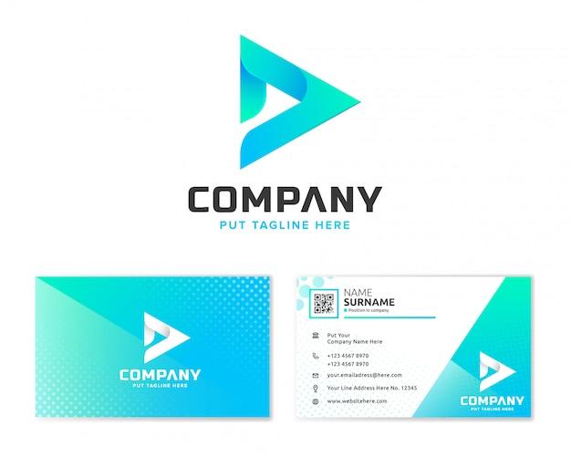 Lettera d logo con biglietto da visita di cancelleria Vettore Premium