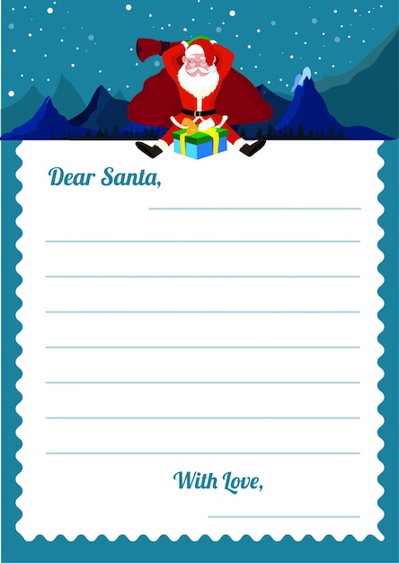 Lista Regali Natale.Lettera Di Lista Dei Desideri Di Natale Al Modello Di Santa