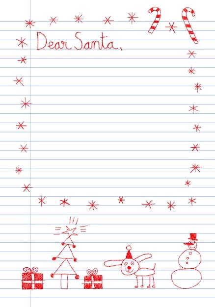 Lettera di stile puerile al modello di babbo natale con scarabocchi disegnati a mano Vettore Premium