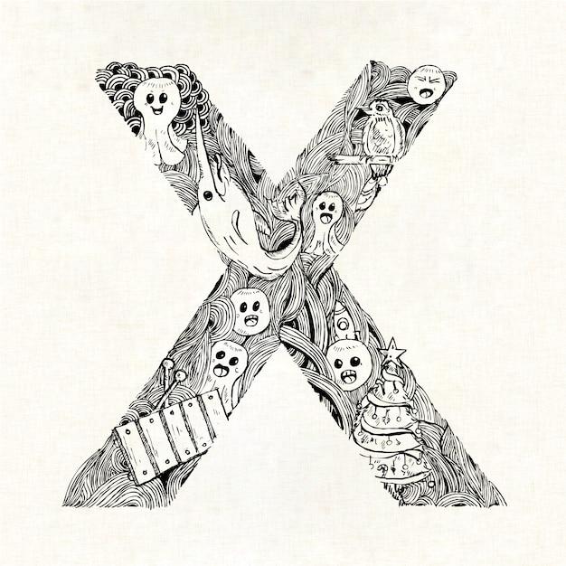 Lettera disegnata a mano x sfondo Vettore gratuito