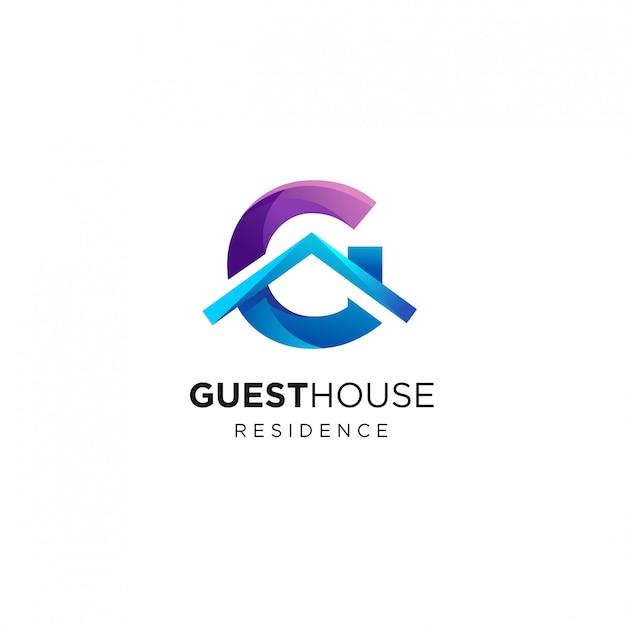 Lettera g house logo design template Vettore Premium