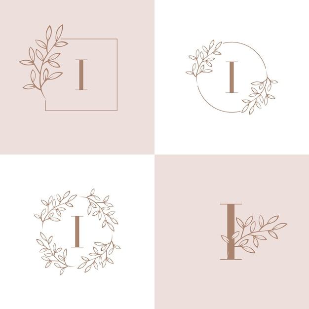 Lettera i logo con elemento foglia di orchidea Vettore Premium