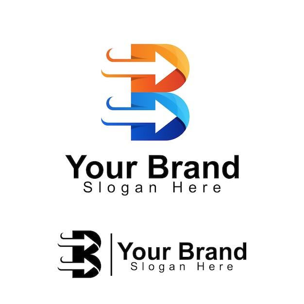 Lettera iniziale b con modello di logo aziendale freccia Vettore Premium