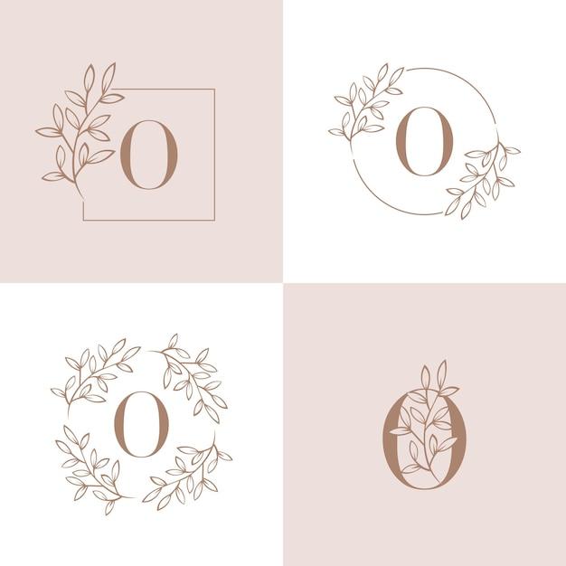 Lettera o logo design con elemento foglia di orchidea Vettore Premium