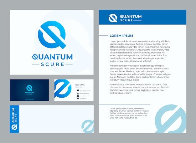 Lettera q modello stazionario quantistico Vettore Premium