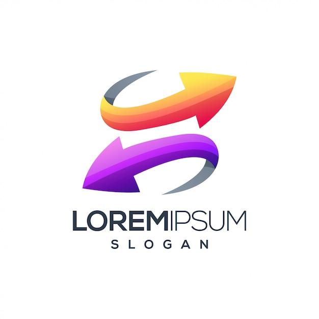 Lettera s freccia logo design vettoriale Vettore Premium