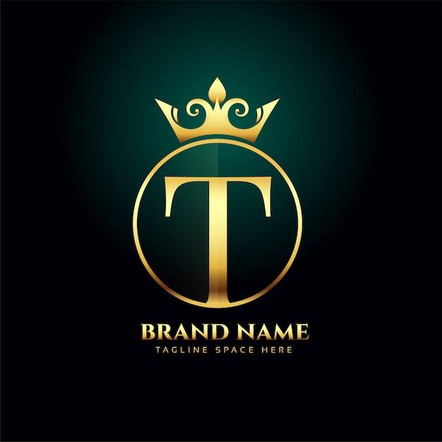 Lettera t e modello di concetto di logo dorato cresciuto Vettore gratuito