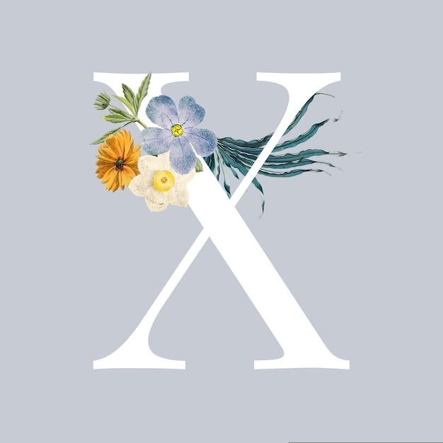 Lettera x con fiori Vettore gratuito