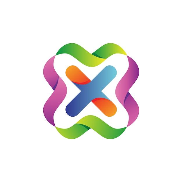 Lettera x con il vettore di logo di onde colorate Vettore Premium