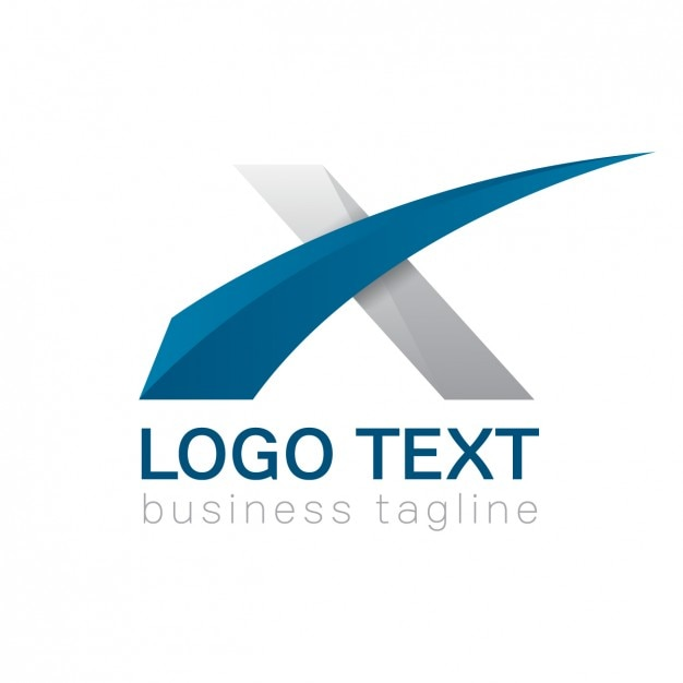 Lettera x logo, i colori blu e grigio Vettore gratuito