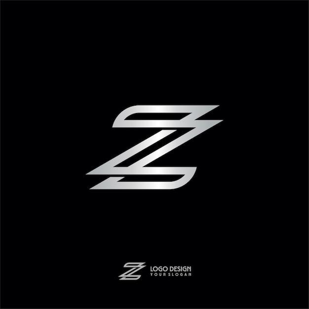Lettera z logo in argento con monogramma Vettore Premium