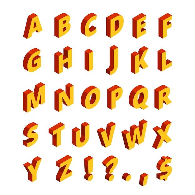 Lettere colorate in stile isometrico. alfabeto 3d. abc stile blocco geometrico Vettore Premium