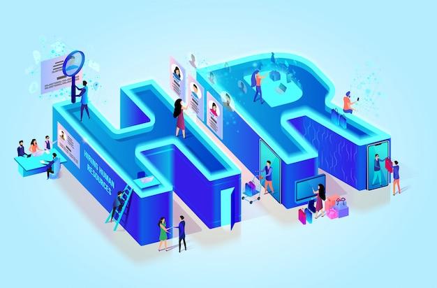 Lettere creative 3d isometriche hr. risorse umane Vettore Premium
