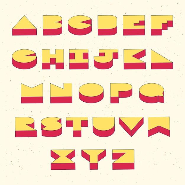 Lettere dell'alfabeto con effetto isometrico 3d Vettore Premium