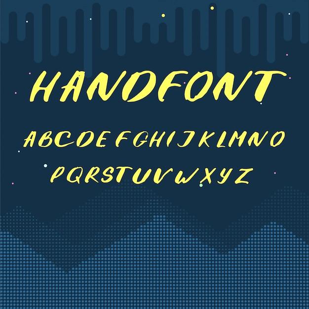Lettere dell'alfabeto latino - carattere scritto a mano giallo Vettore gratuito