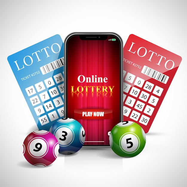Lettere della lotteria online sullo schermo dello smartphone, biglietti e palline. Vettore gratuito