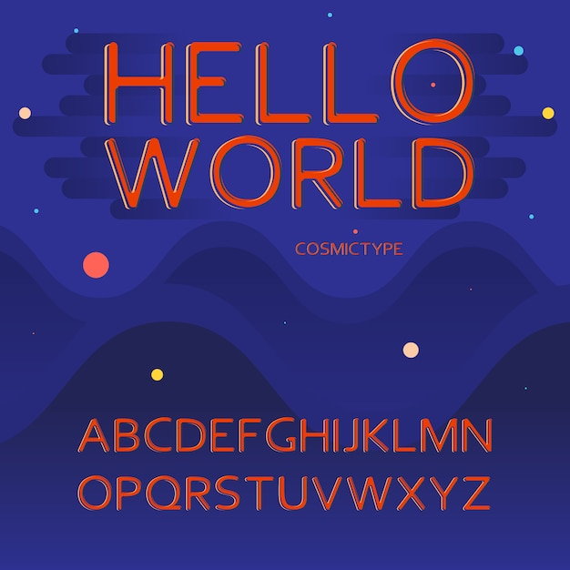 Lettere di alfabeto latino - spazio, concetto cosmico Vettore gratuito